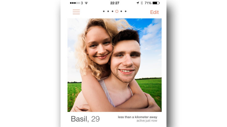 Guy's Tinder profile with girl in picture